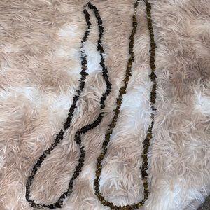 2 Brown Rock Bead Necklaces